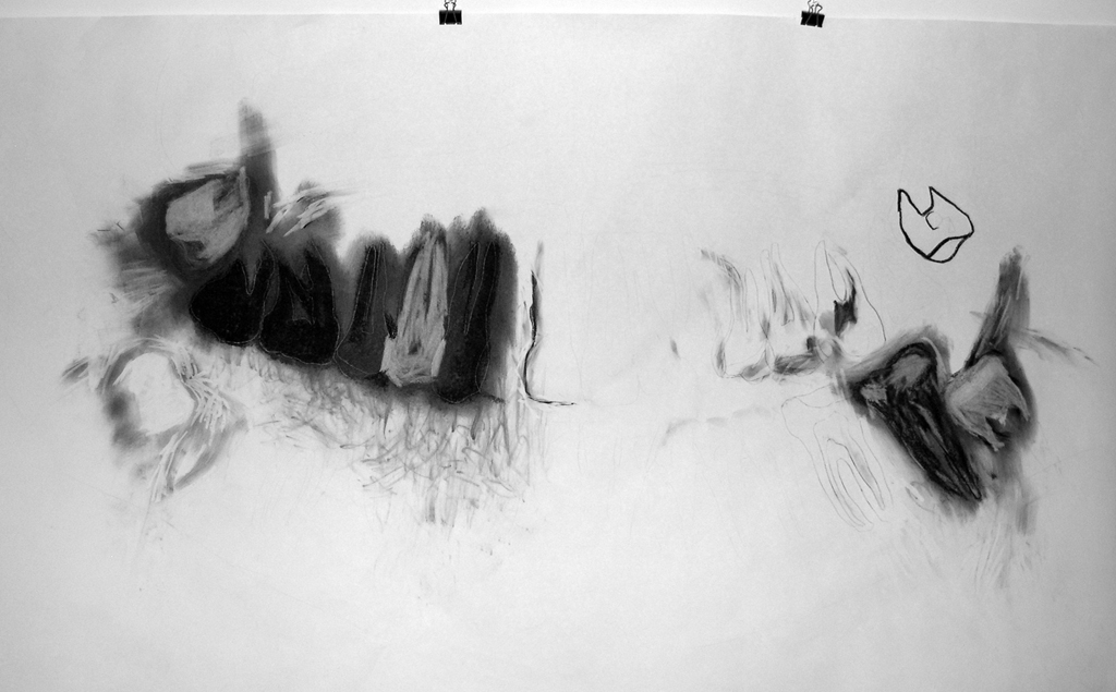 Four Wisdoms - Drawing of Xray of full set of teeth - Charcoal on paper